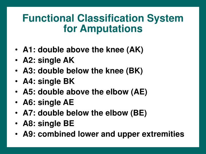 Functional classification system for amputations l.jpg