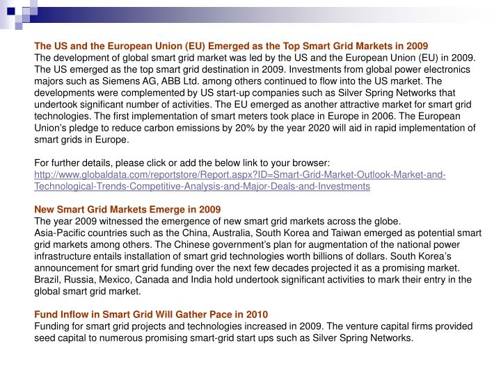The US and the European Union (EU) Emerged as the Top Smart Grid Markets in 2009