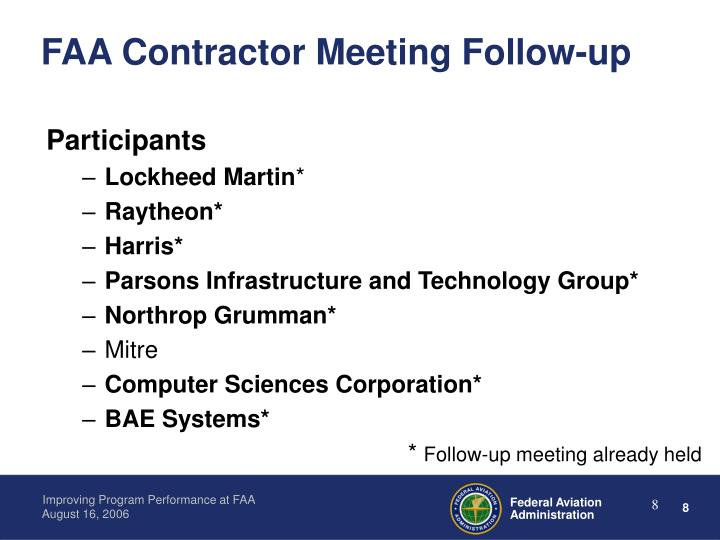 FAA Contractor Meeting Follow-up