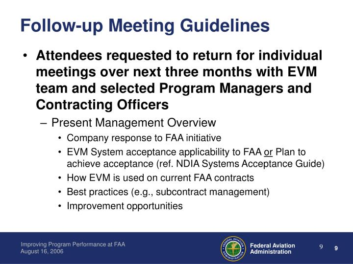 Follow-up Meeting Guidelines