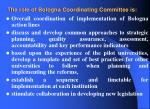 the role of bologna coordinating committee is