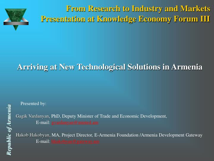 From research to industry and markets presentation at knowledge economy forum iii l.jpg