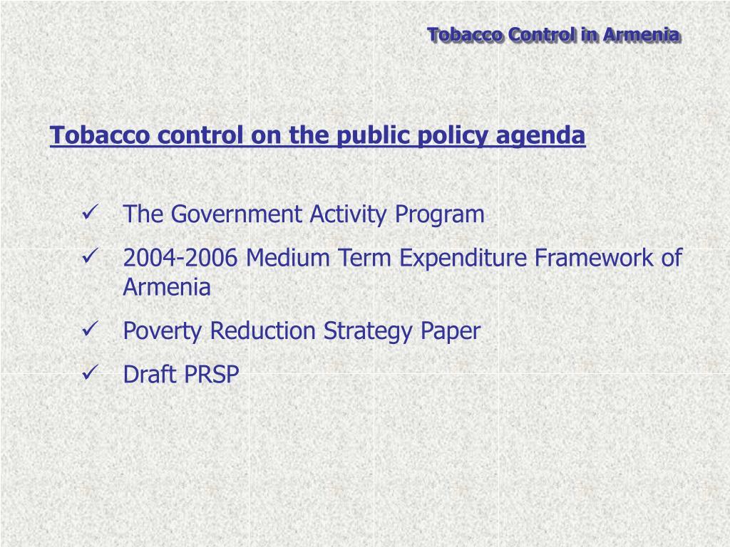 Tobacco control on the public policy agenda
