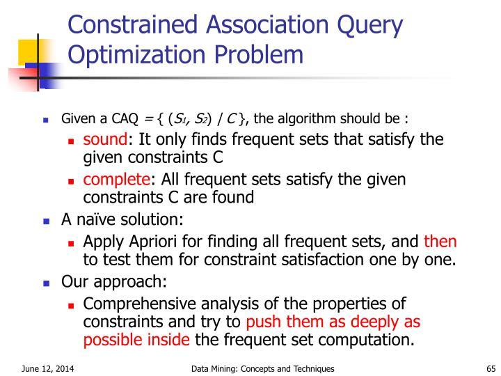 Constrained Association Query Optimization Problem