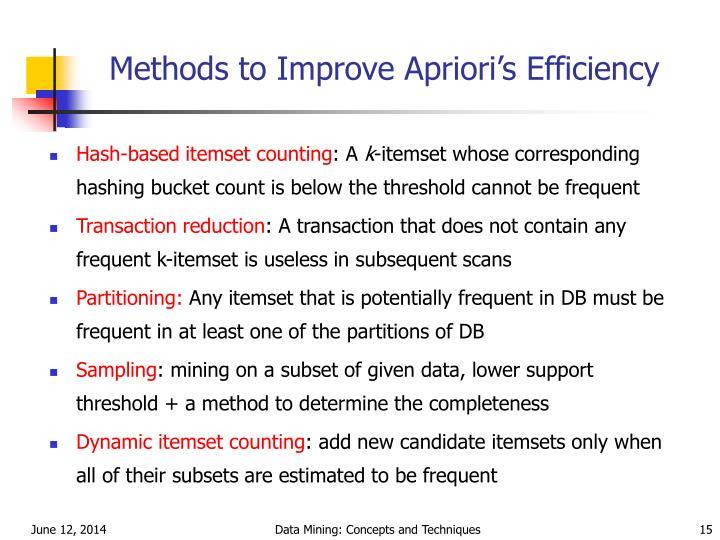Methods to Improve Apriori's Efficiency
