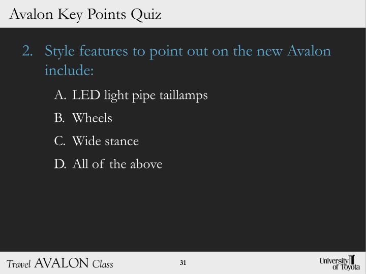 Avalon Key Points Quiz