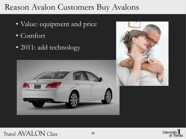 Reason Avalon Customers Buy Avalons