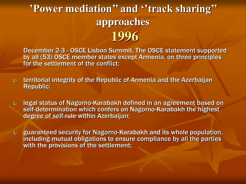 'Power mediation'' and ''track sharing'' approaches
