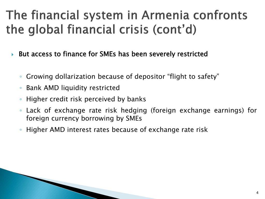 The financial system in Armenia confronts the global financial crisis (cont'd)