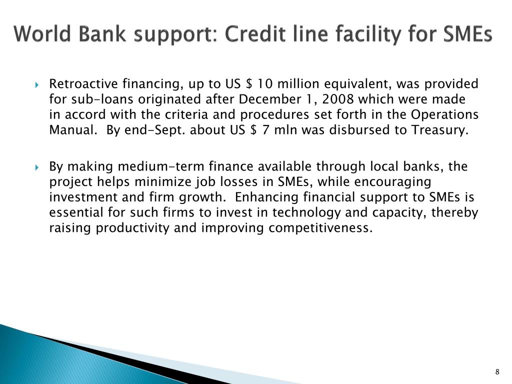 World Bank support: Credit line facility for SMEs