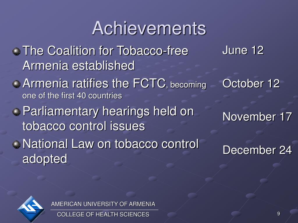 The Coalition for Tobacco-free Armenia established