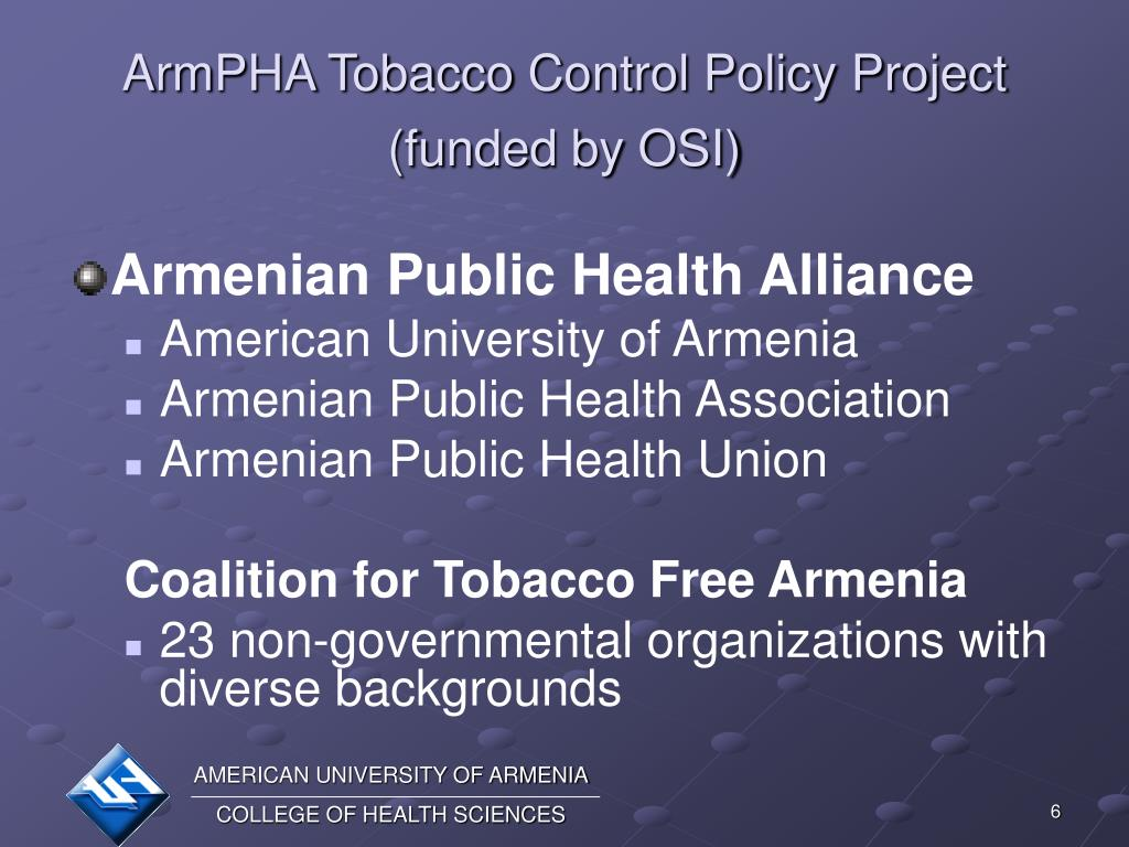 ArmPHA Tobacco Control Policy Project