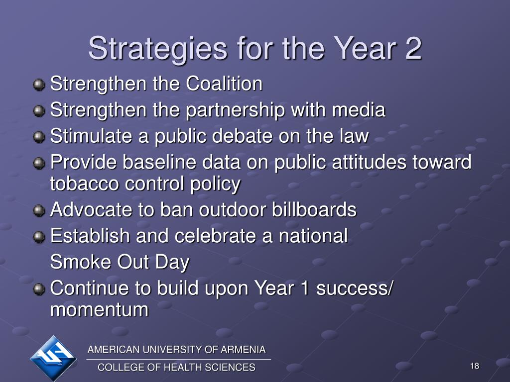 Strategies for the Year 2