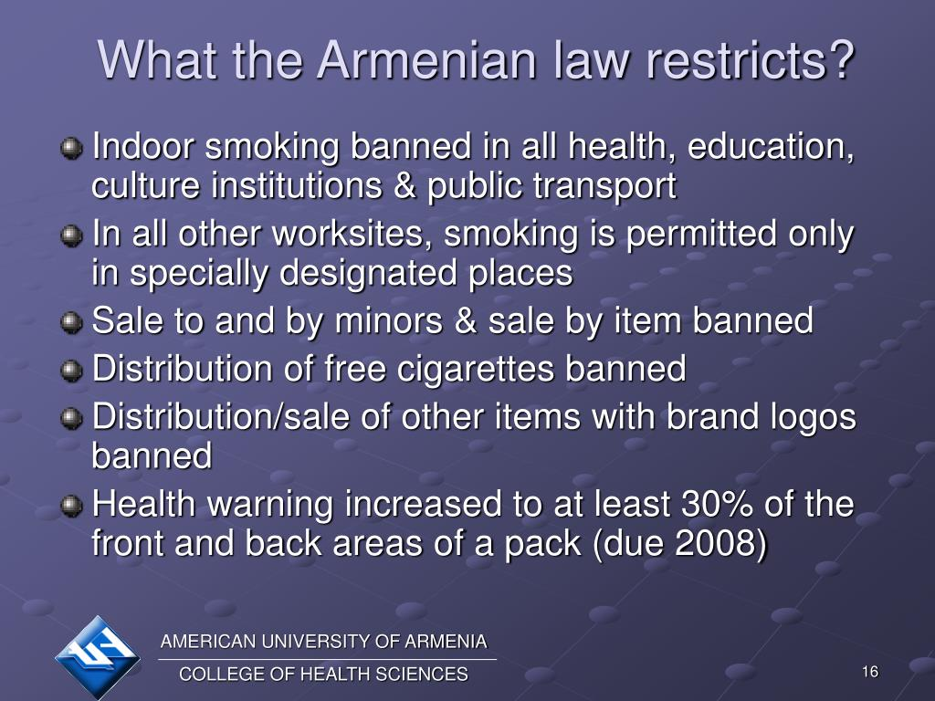What the Armenian law restricts?
