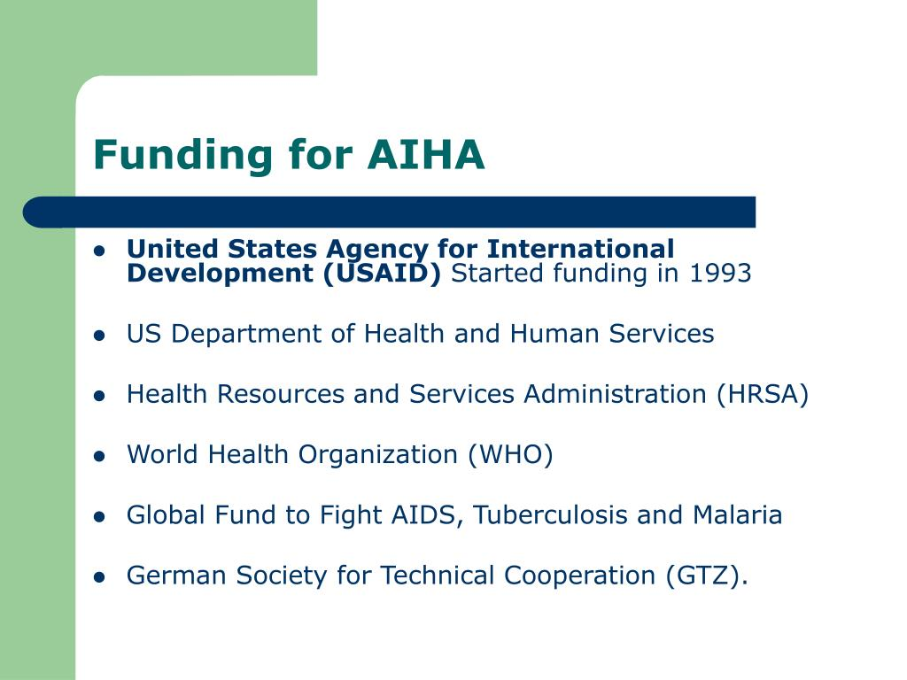 Funding for AIHA
