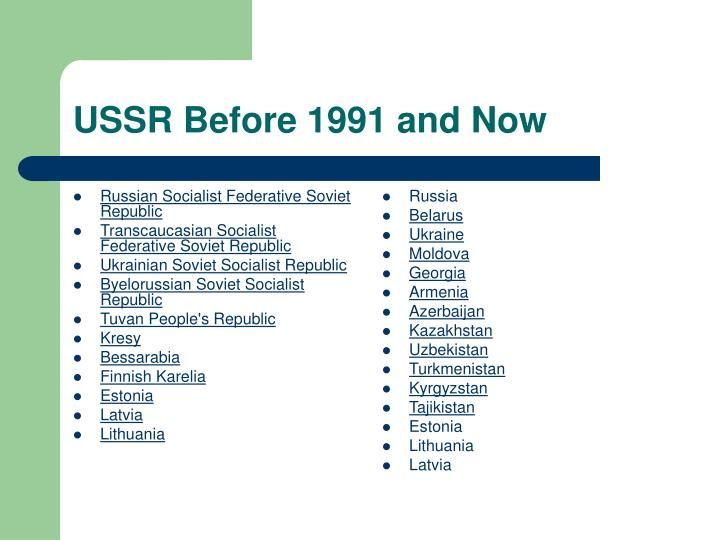 Ussr before 1991 and now
