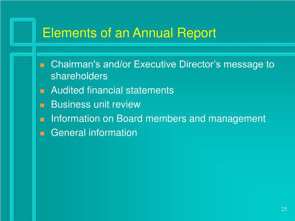 Elements of an Annual Report