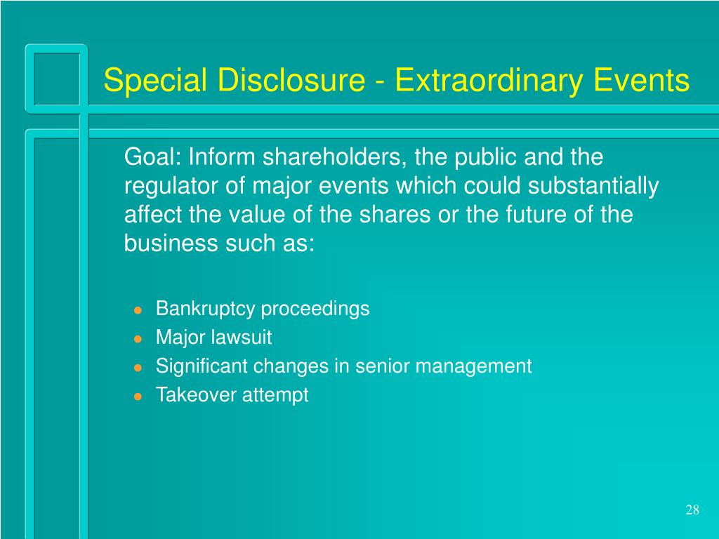 Special Disclosure - Extraordinary Events