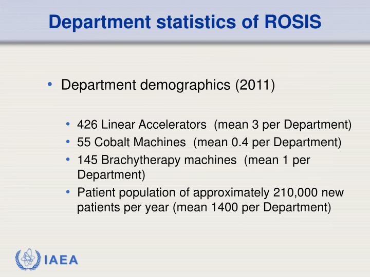 Department statistics of ROSIS