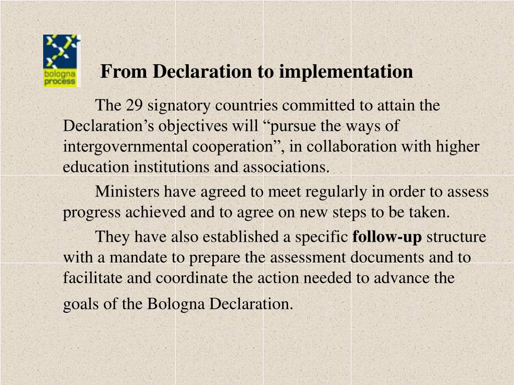 From Declaration to implementation