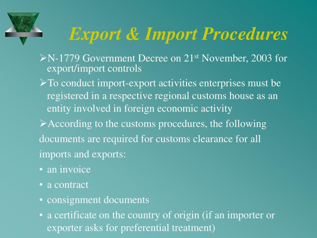 Export & Import Procedures