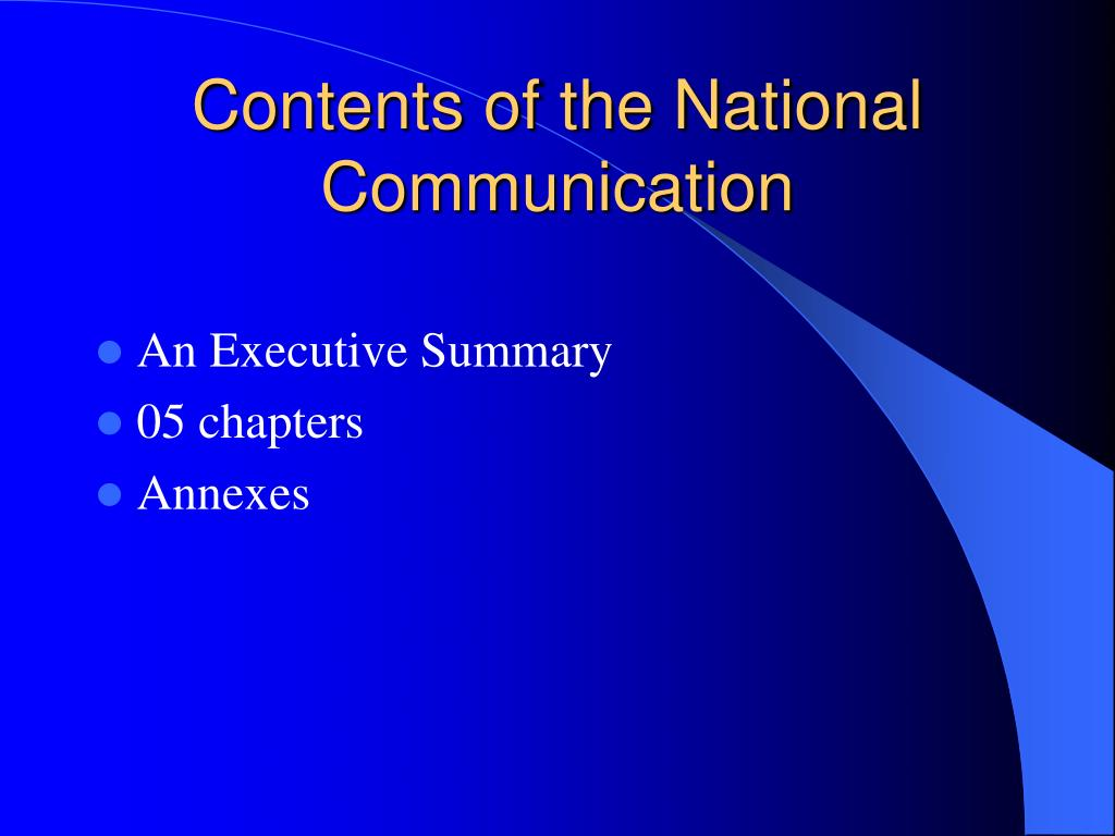 Contents of the National Communication