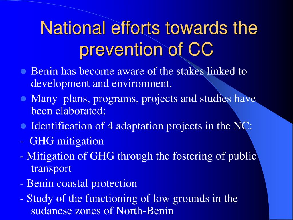 National efforts towards the prevention of CC
