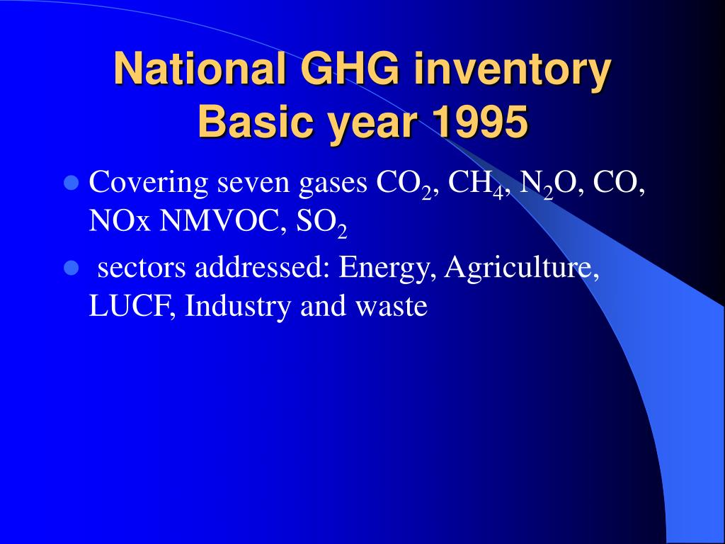 National GHG inventory Basic year 1995
