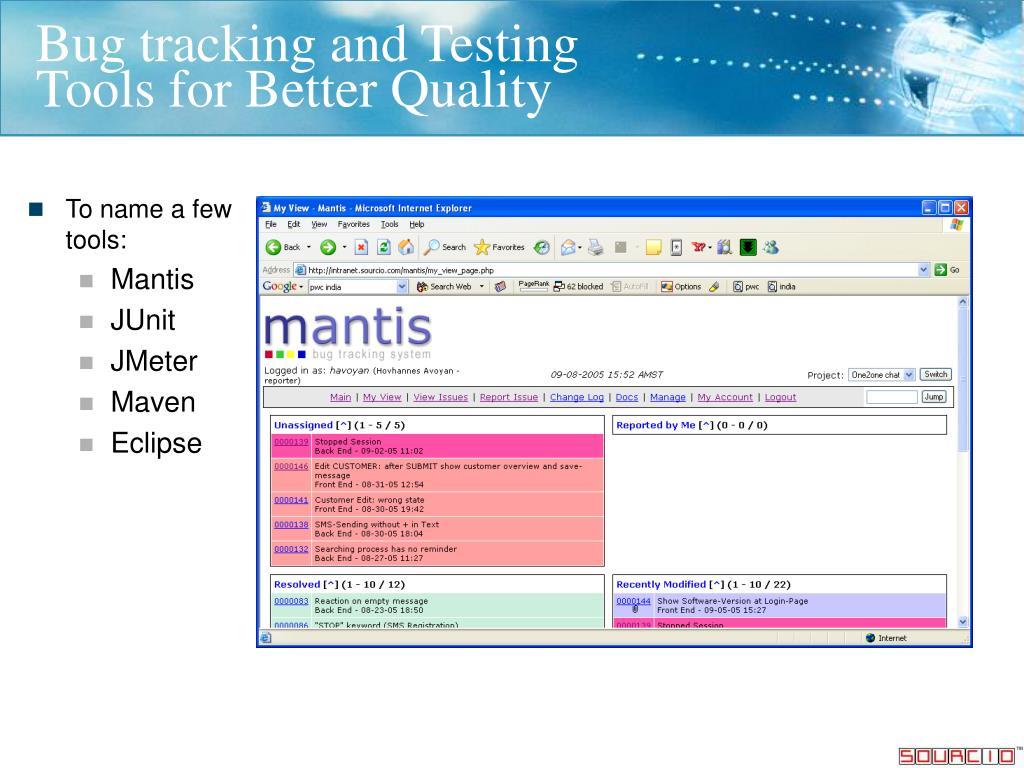 Bug tracking and Testing