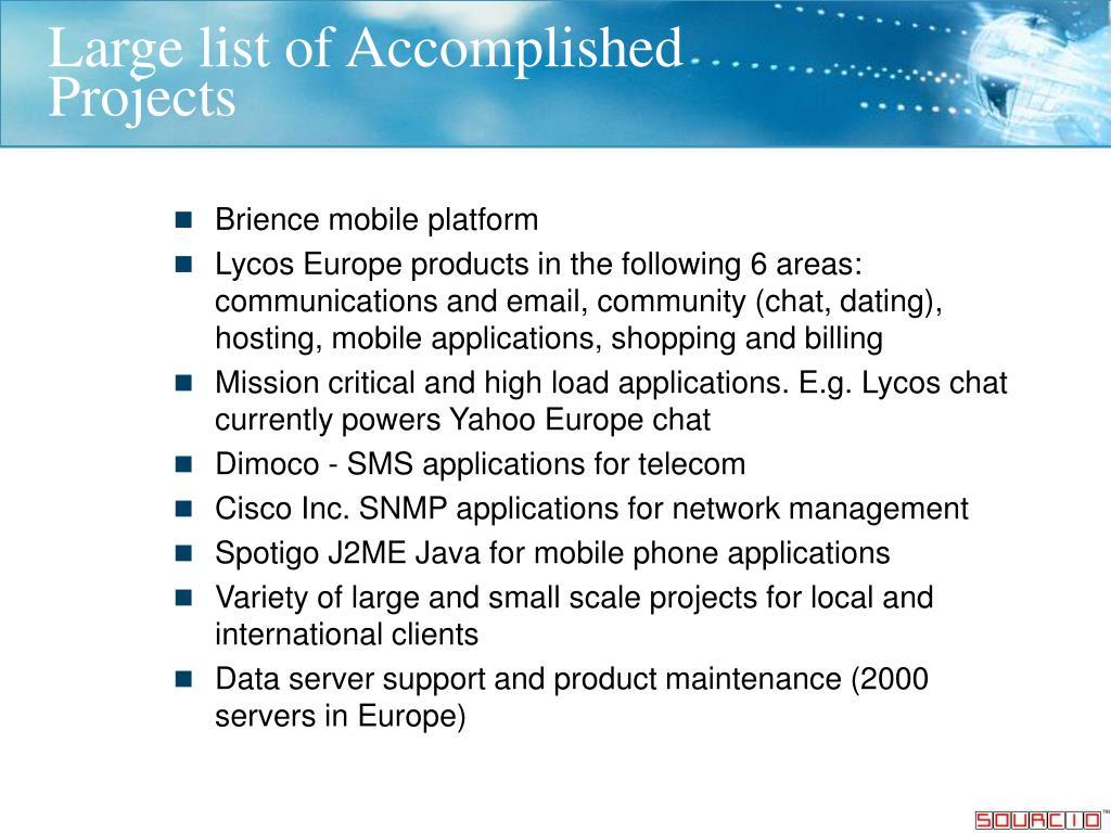 Large list of Accomplished
