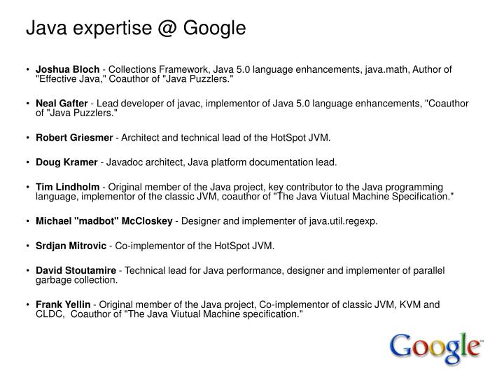 Java expertise @ Google