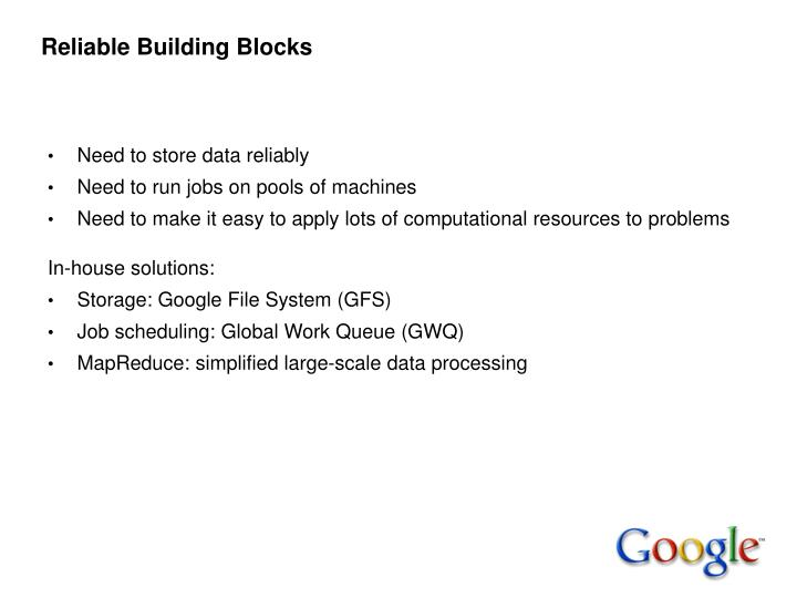 Reliable Building Blocks