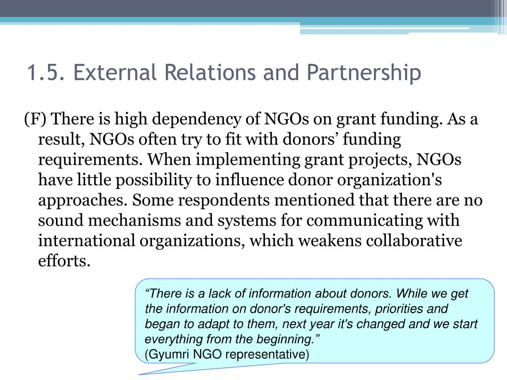 1.5. External Relations and Partnership