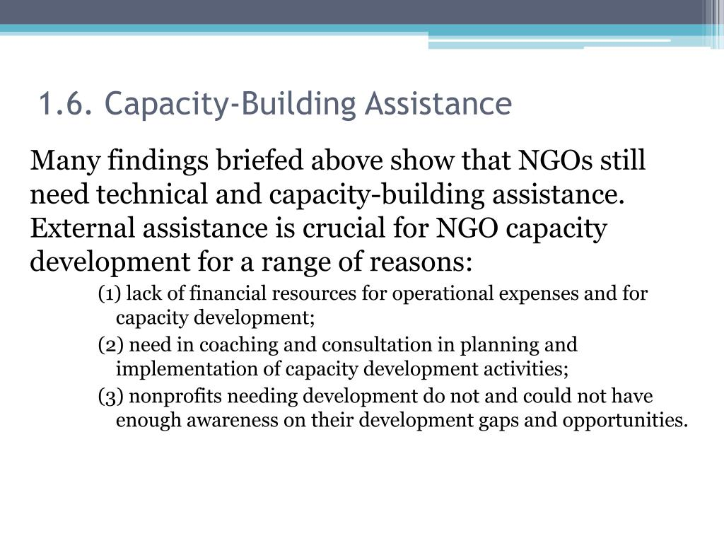 1.6. Capacity-Building Assistance