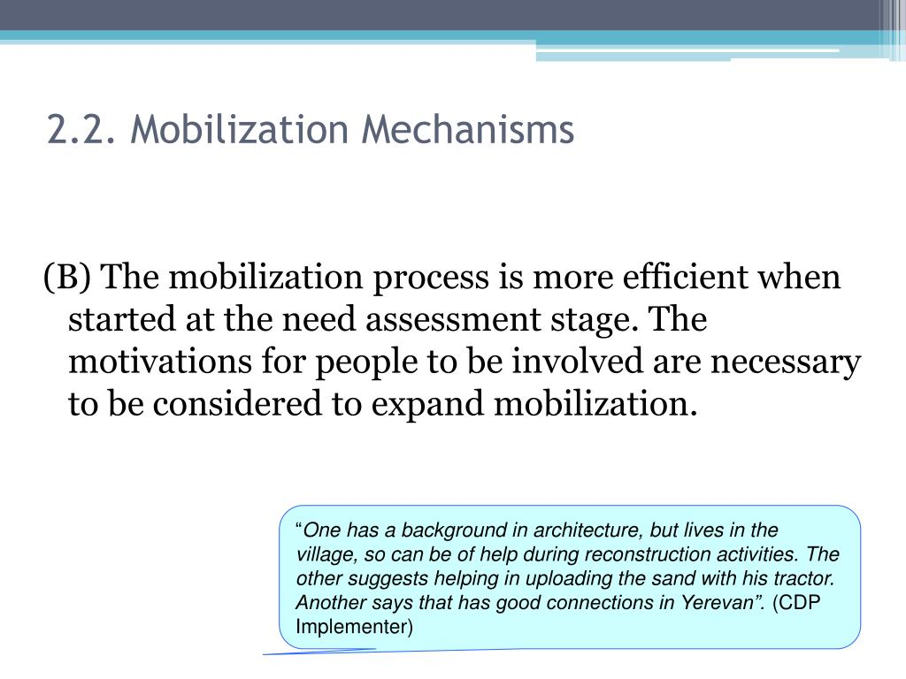 2.2. Mobilization Mechanisms
