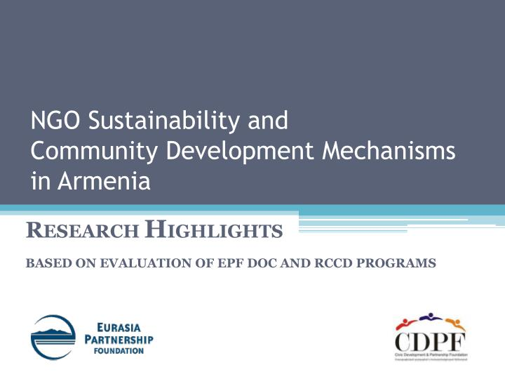 Ngo sustainability and community development mechanisms in armenia