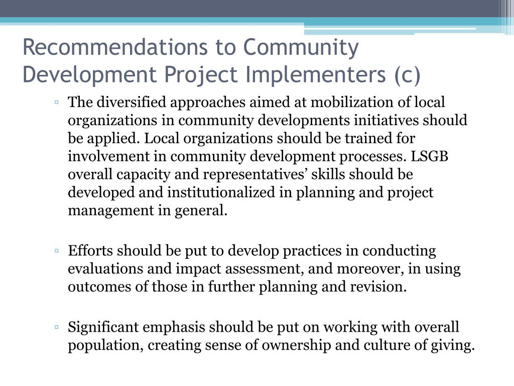 Recommendations to Community Development Project Implementers (c)