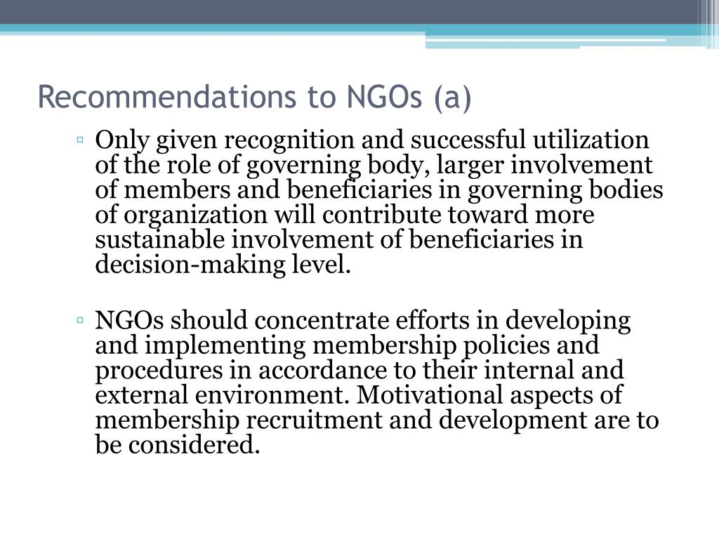 Recommendations to NGOs (a)