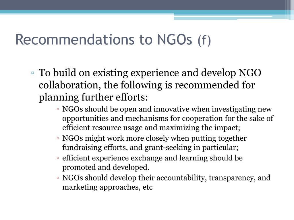 Recommendations to NGOs