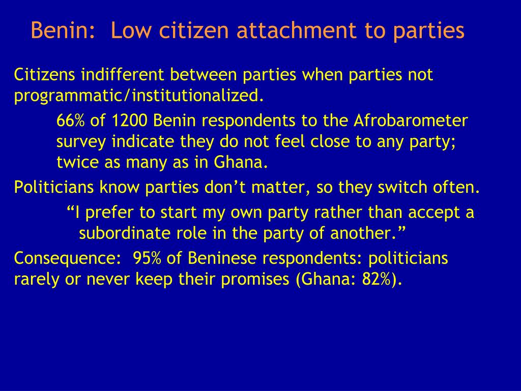 Benin:  Low citizen attachment to parties