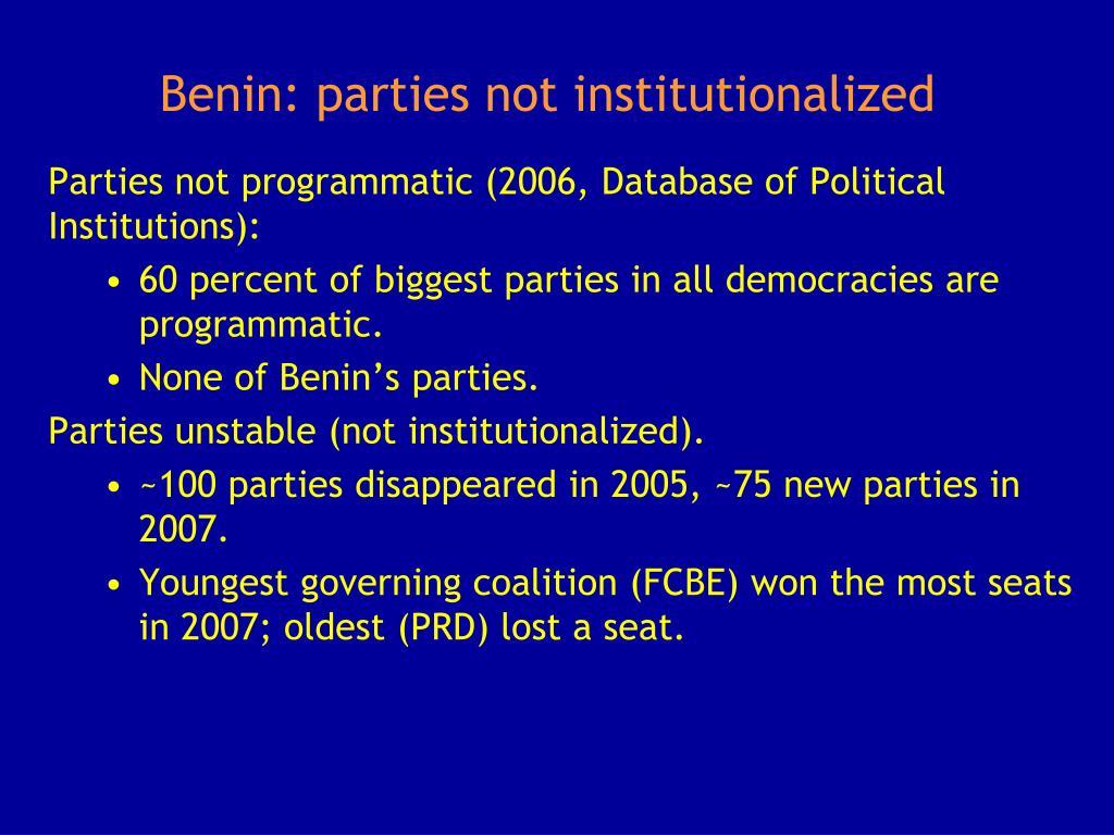 Benin: parties not institutionalized