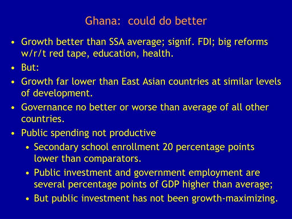 Ghana:  could do better