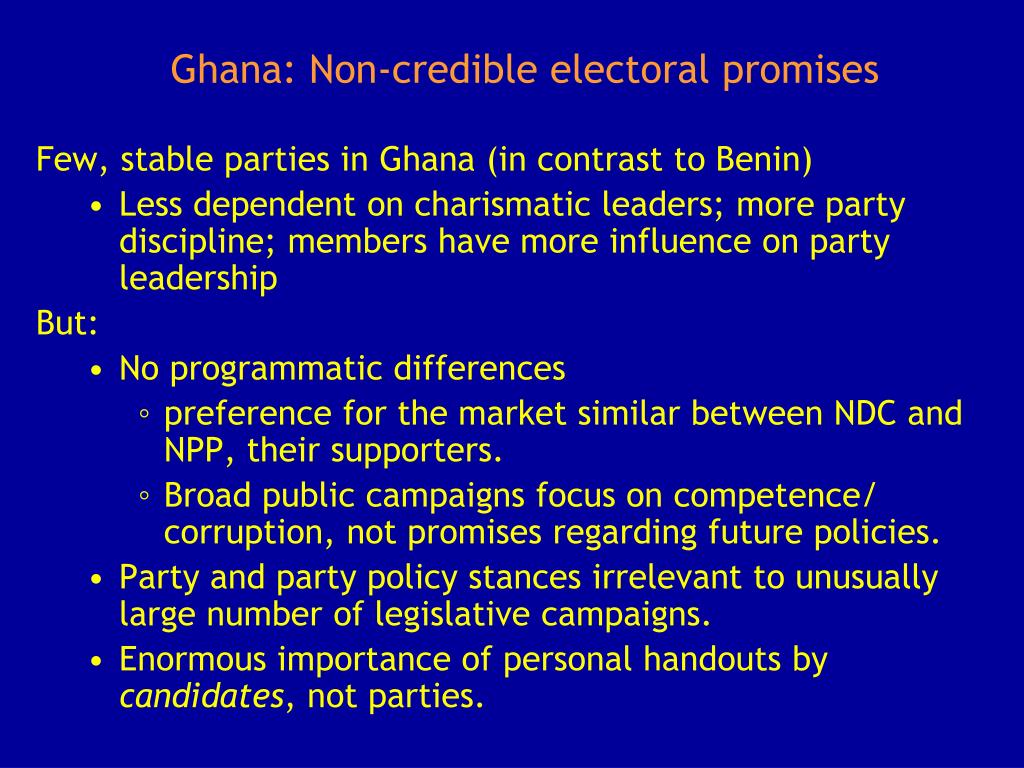 Ghana: Non-credible electoral promises
