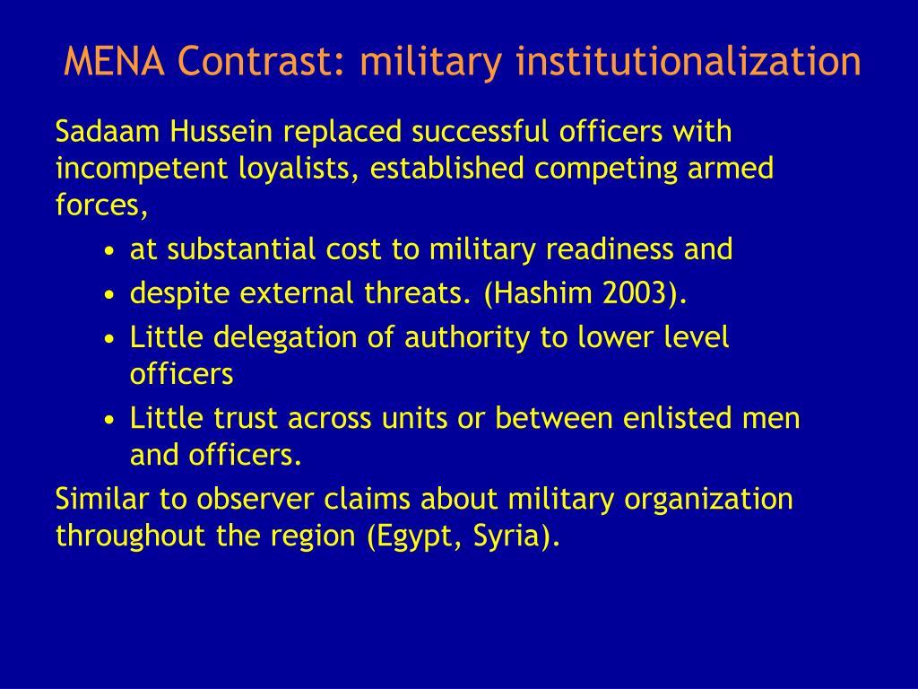 MENA Contrast: military institutionalization