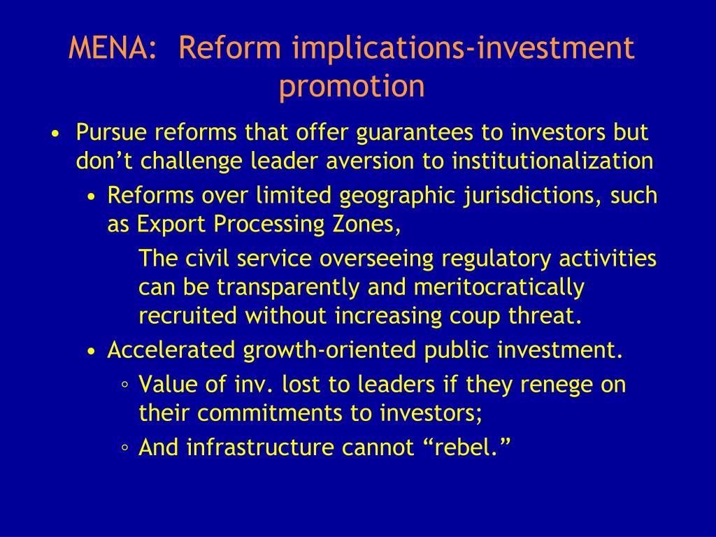 MENA:  Reform implications-investment promotion