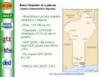 benin republic at a glance some characteristic figures