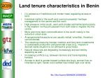 land tenure characteristics in benin