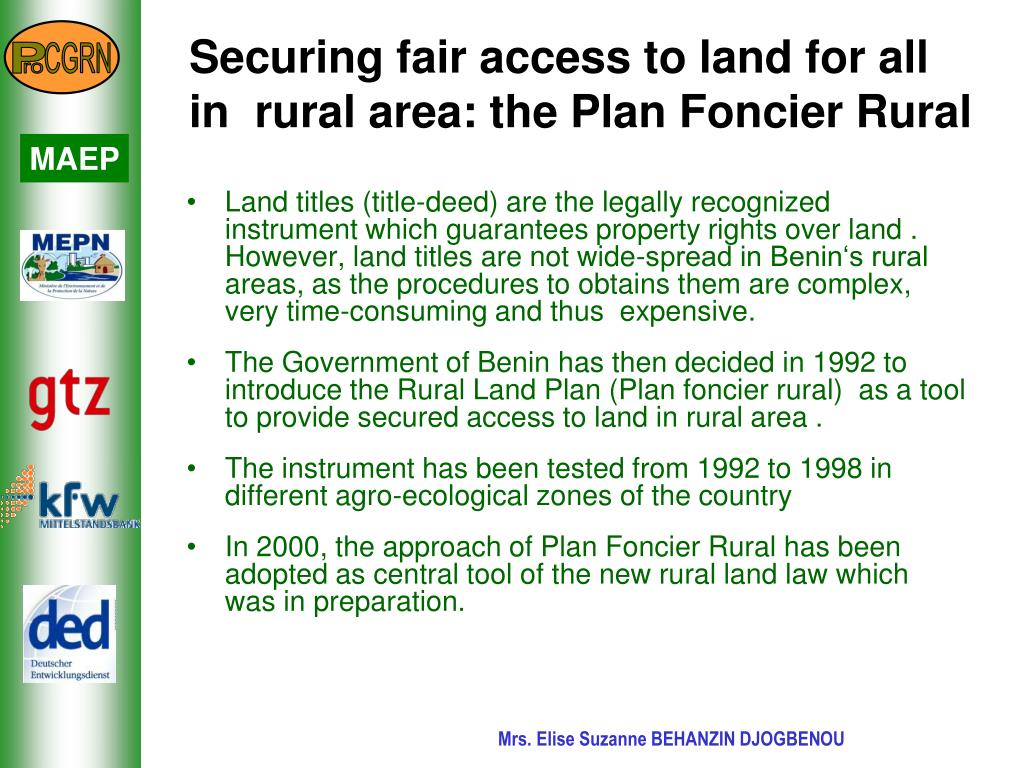 Securing fair access to land for all in  rural area: the Plan Foncier Rural