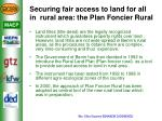 securing fair access to land for all in rural area the plan foncier rural