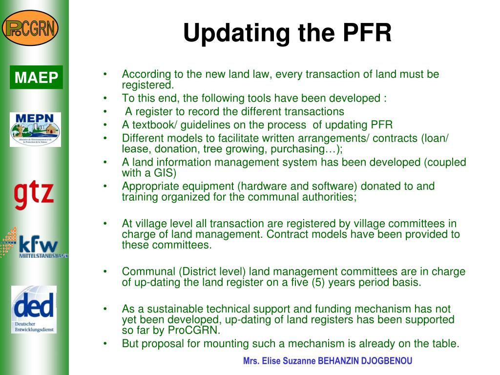 Updating the PFR